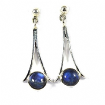 Round stone drop Rainbow Moonstone Earrings Silver Twin Prong